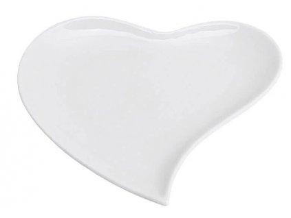 Porcelánový talíř z bílého porcelánu ve tvaru srdce