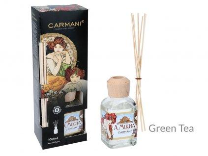 Carmani - Designový difuzér A. Mucha Green Tea- 100 ml