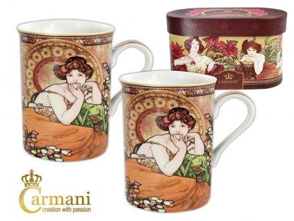 """Carmani - Porcelánové hrnky Alfons Mucha """"Topaz"""" v dárkové krabičce - 2*450 ml"""