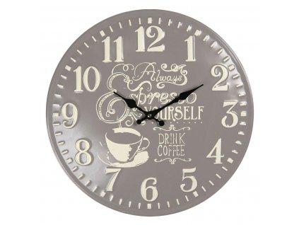 Clayre & Eef - Nástěnné hodiny COFFEE - Ø 40 cm / 1*AA