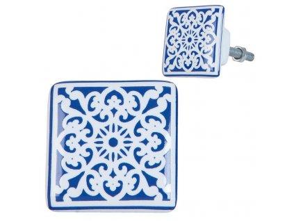 Clayre & Eef - Čtvercová nábytková úchytka s modrým vzorem - 3*2*3 cm
