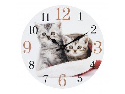 """Clayre & Eef - Nástěnné hodiny CATS """"Koťátka"""" - Ø 34*4 cm / 1*AA"""