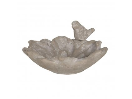 Clayre & Eef - Ptačí pítko kameninové s ptáčkem - 20*19*9 cm