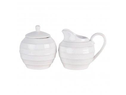 Clayre & Eef - Dolomitová dózička na cukr a džbánek na mléko CREME - 14*11*11 / Ø 10*12 cm