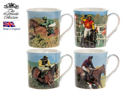"""Leonardo - Sada Porcelánových hrníčků """"Závodní koně"""" v dárkové krabičce - 4*250 ml"""