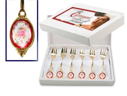 """Carmani - Dezertní zlacené vidličky """"Rose"""" v dárkové krabičce - 6 ks"""