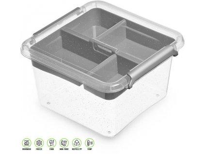 Antibakteriální box s vložkou na přílohy /15*15*8,5 cm/ - 1,15 l