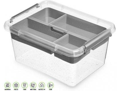 Antibakteriální box s vložkou na přílohy /19,5*19,5*8,5 cm/ - 1,6 l