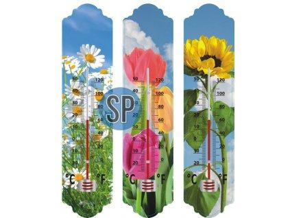 Univerzální teploměr v dekoru květin /-20°C+50°C/ - 29,5 cm