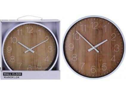 Nástěnné hodiny v imitaci dřeva - 25 cm