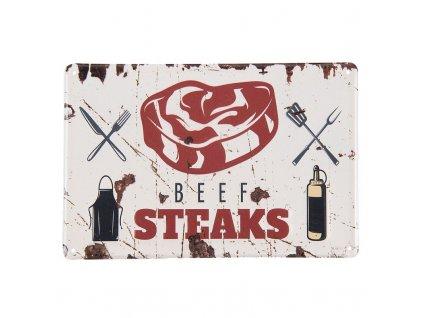 plechova cedule beef steaks