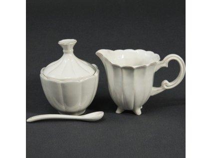 Porcelánová cukřenka a mléčenka s patinou - 14,8*9,2*10,8 cm