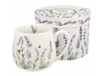 """Porcelánový hrnek buclák """"Levandule s motýly"""" v dárkové krabičce - 430 ml"""