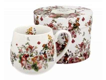 """Porcelánový hrnek buclák """"VINTAGE FLOWERS - WHITE"""" v dárkové krabičce - 430 ml"""