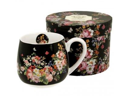 """Porcelánový hrnek buclák """"VINTAGE FLOWERS - BLACK"""" v dárkové krabičce - 430 ml"""