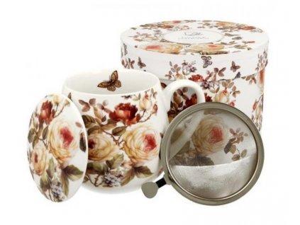 """Porcelánový hrnek buclák s víčkem a kov. sítkem """"Roses s motýlem"""" v dárkové krabičce - 430 ml"""