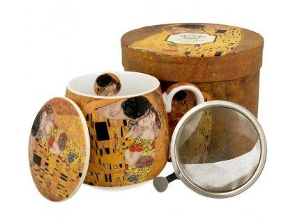"""Porcelánový hrnek buclák s víčkem a kov. sítkem """"THE KISS"""" v dárkové krabičce - 430 ml"""