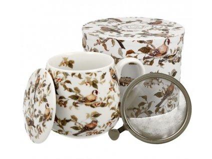 """Porcelánový hrnek buclák s víčkem a kov. sítkem """"Ptáci na větvích"""" v dárkové krabičce - 430 ml"""