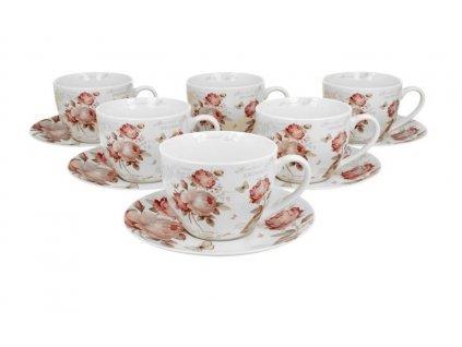 """Sada porcelánových šálků s podšálky """"Roses"""" v dárkovém balení - 6* 250 ml"""