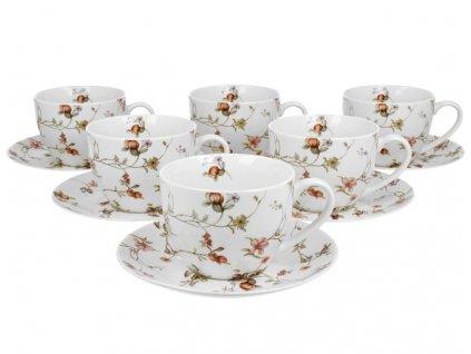 """Sada porcelánových šálků s podšálky """"Pnoucí květiny"""" v dárkovém balení - 6* 250 ml"""