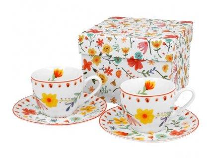 """Porcelánové šálky s podšálkem na espresso v dárkové krabičce """"Pastel"""" - 2*100 ml"""