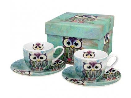 """Porcelánové šálky s podšálkem na espresso v dárkové krabičce """"Sova Funky"""" - 2*100 ml"""