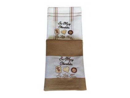Vaflované vyšívané utěrky DUO Chocolates