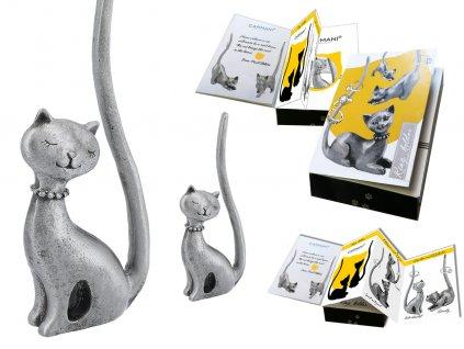 Kovový stojánek na šperky ve tvaru kočky Kovový stojánek na šperky ve tvaru kočky v dárkové krabičce