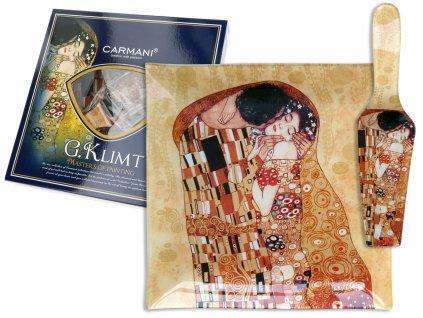 """Porcelánový talíř G. Klimt """"Polibek"""" s lopatkou"""
