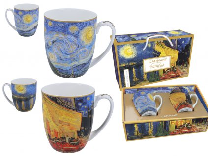 "Porcelánové hrnky V. Gogh ""Design otevřené kavárny a hvězdné noci"""