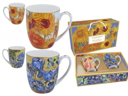 "Porcelánové hrnky V . Gogh ""Design slunečnice a Iris"""