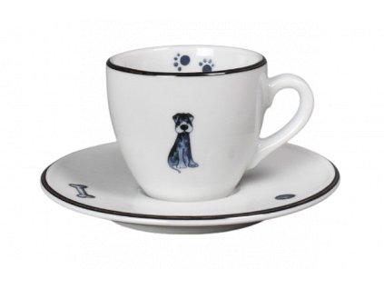 Porcelánový šálek s podšálkem na espresso psi s černou linkou - 90 ml
