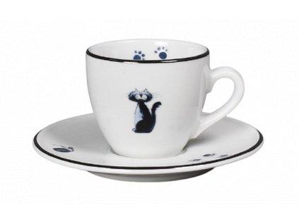 Porcelánový šálek s podšálkem na espresso kočky s černou linkou - 90 ml