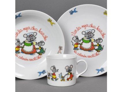 Dětská jídelní porcelánová souprava Vařila myšička kašičku