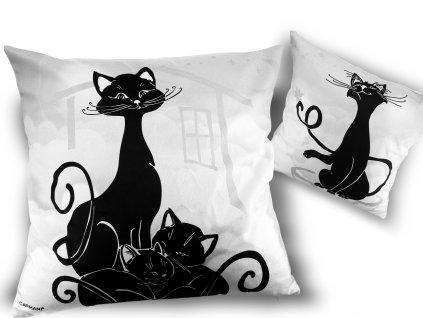 Polštář dekor Kočka s koťaty