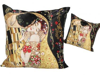 Polštář G. Klimt, The Kiss, černé pozadí.