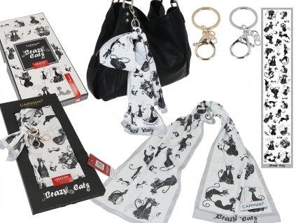 Saténový šátek bláznivé kočky s karabinkou v dárkové krabičce