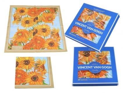 Papírové ubrousky V. Van Gogh. Slunečnice