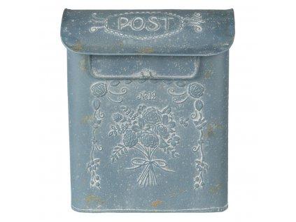 Poštovní schránka s kyticí, Vintage modrá patina