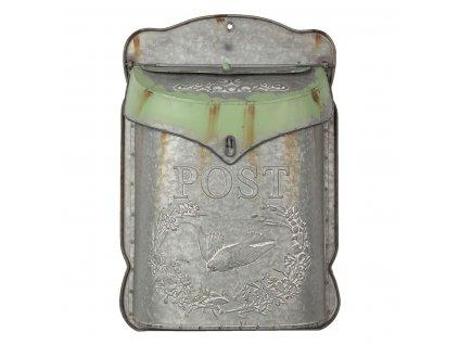 Poštovní schránka s ptáčkem a zeleným patinováním