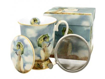 Porcelánový hrnek C. Monet Woman se sítkem a víčkem v dárkové krabičce
