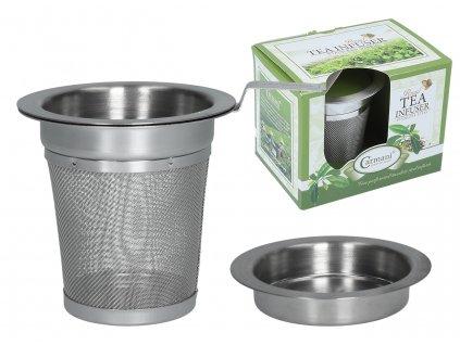 Nerezové sítko na sypaný čaj s víčkem, které se dá použít na odložení.