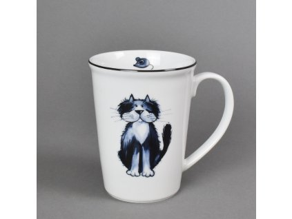 Porcelánový hrnek Erin s černou linkou kočka Anička