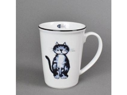 Porcelánový hrnek Erin s černou linkou kočka Apolena