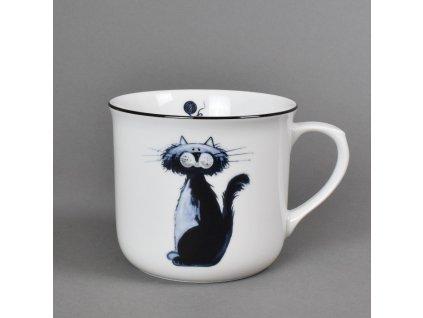 Porcelánový hrnek Vařák s černou linkou kočka Svatava