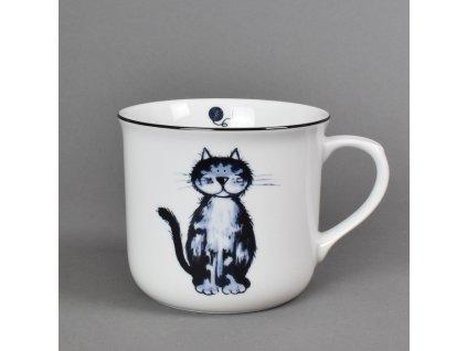 Porcelánový hrnek Vařák s černou linkou kočka Sandra