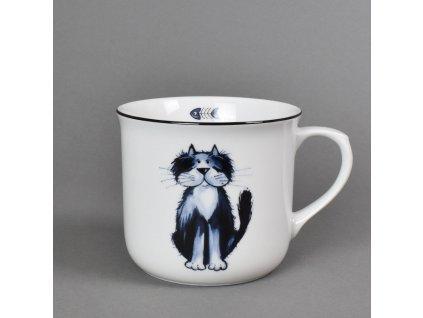 Porcelánový hrnek Vařák s černou linkou kočka Sisi