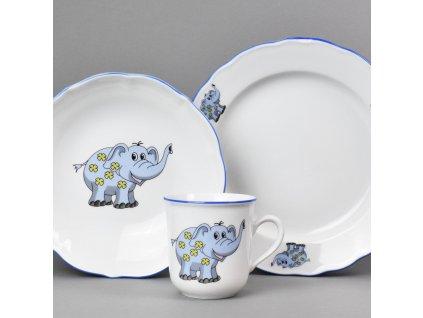 Dětská jídelní porcelánová souprava Modrý slon