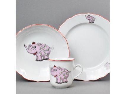 Dětská jídelní porcelánová souprava Růžový slon