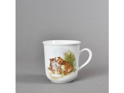 Porcelánový dětský hrneček štěně a koťátko